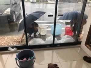 台風一過でキャンピング