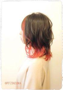 赤い♪インナーカラー♪( ´▽`)